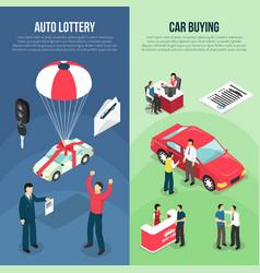 Car dealership leasing vertical banner set vector
