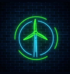 Glowing neon sign of windmill in circle frames on vector
