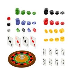 Isometric set of gambling and casino items vector