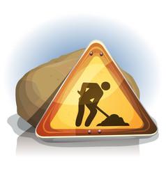 men at work road sign vector image