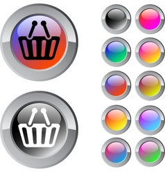 Shopping cart multicolor round button vector image