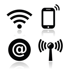 Wifi network internet zone icons set vector image vector image