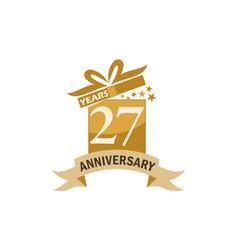 27 years gift box ribbon anniversary vector