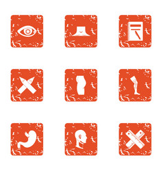 Agency icons set grunge style vector