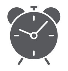 alarm clock glyph icon time and hour deadline vector image