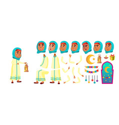 arab muslim girl kid primary school child vector image