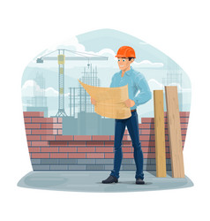 Architect engineer or foreman construction site vector