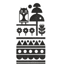 Black and white scandinavian print with night owl vector