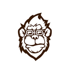 black and white version a monkey design vector image