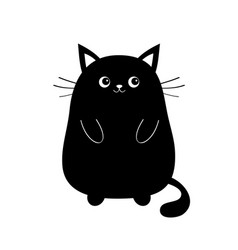 black cute sitting cat baby kitten silhouette vector image