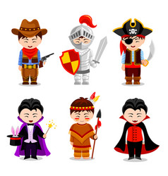 boys in costumes on white background vector image