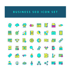 business seo icon set with filled outline style vector image