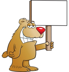 Cartoon Bear Holding a Sign vector image