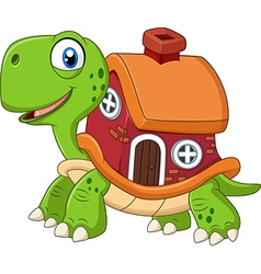 Cartoon funny turtle with shell house vector
