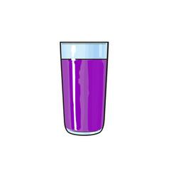 cartoon glass cup of purple fruit juice vector image vector image