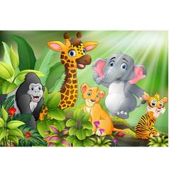 Cartoon of nature scene with wild animals vector