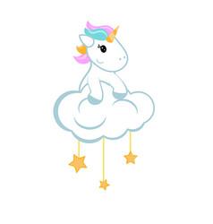 Cartoon unicorn sitting on the cloud cartoon vector
