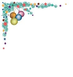 Christmas Balls Decoration on Fir Twigs Corner vector image