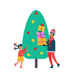 christmas time tree and people with present vector image