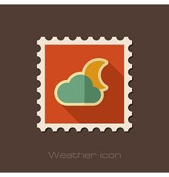 Cloud Moon flat stamp Meteorology Weather vector image