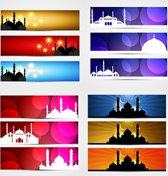 Collection of ramadan kareem festival banner vector