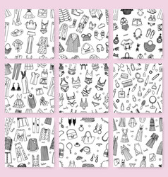 collection of seamless patterns this hand drawn vector image