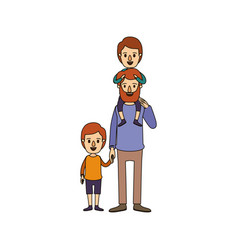 Color image caricature bearded father with boy on vector