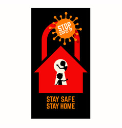 coronavirus covid19 pandemic stay home stay safe vector image
