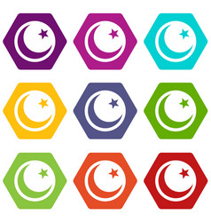 crescent and star icon set color hexahedron vector image