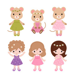 Cute baby ballerinas in pink dress clipart vector