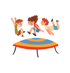 cute boys and girl jumping on trampoline happy vector image