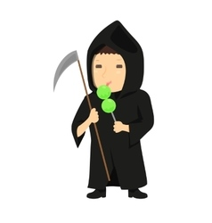 Cute cartoon kid in halloween costume vector image