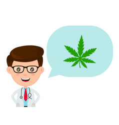 Cute funny smiling doctor with marijuana vector