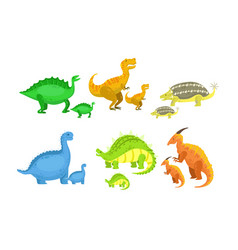 cute mother and baby dinosaurs set loving parents vector image