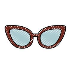 cute scribble glasses cartoon vector image