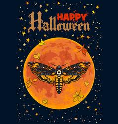 Death head hawkmoth on full moon background vector