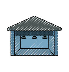 Delivery warehouse building vector