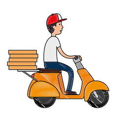 Delivery worker in motorcycle avatar character vector