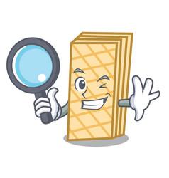 Detective waffle character cartoon style vector