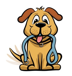 Dog waiting to walk clipart vector