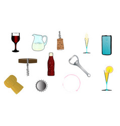 drink related icons vector image