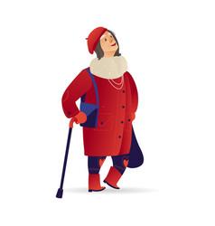 Elderly woman senior lady walking at winter vector