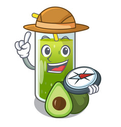Explorer avocado smoothies are isolated on vector
