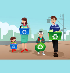 Family recycling vector