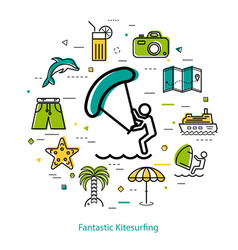 fantastic kitesurfing - round line concept vector image