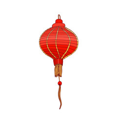Festive chinese paper lantern red round-shaped vector