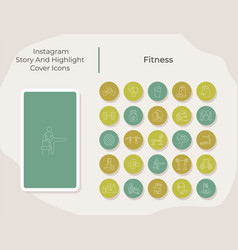Fitness social media story and highlight cover vector