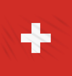 flag switzerland swaying in wind realistic vector image