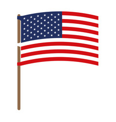 flag united states of america in flagpole waving vector image