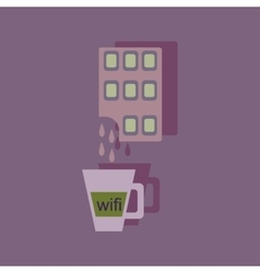 Flat with shadow Icon cup coffee and chocolate vector